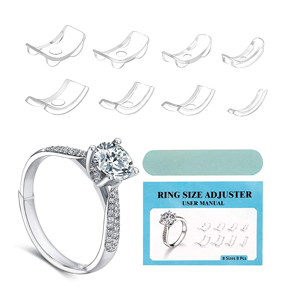 Keten Invisible Ring Size Adjuster for Loose Rings with Double-Sided Polishing Stick, 8 Pcs in 8 Sizes Insert Style Fit for Any 1-9MM Rings for Men Women Big Knuckles