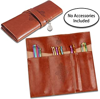 Crochet Hook Case Organizer, Unique Leather Travel Storage Bag Holder for Various Crochet Needles and Knitting Accessories