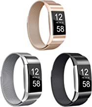 Valband 3 Pack Replacement Bands Compatible with Fitbit Charge 2, Stainless Steel Metal Lock Replacement Wristban with Uni...