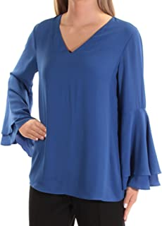 ALFANI Womens Blue Bell Sleeve V Neck Top US Size: 4
