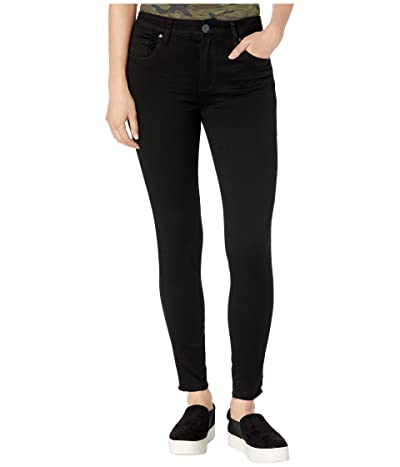 KUT from the Kloth Donna High-Rise Ankle Skinny Raw Hem in Black (Black) Women