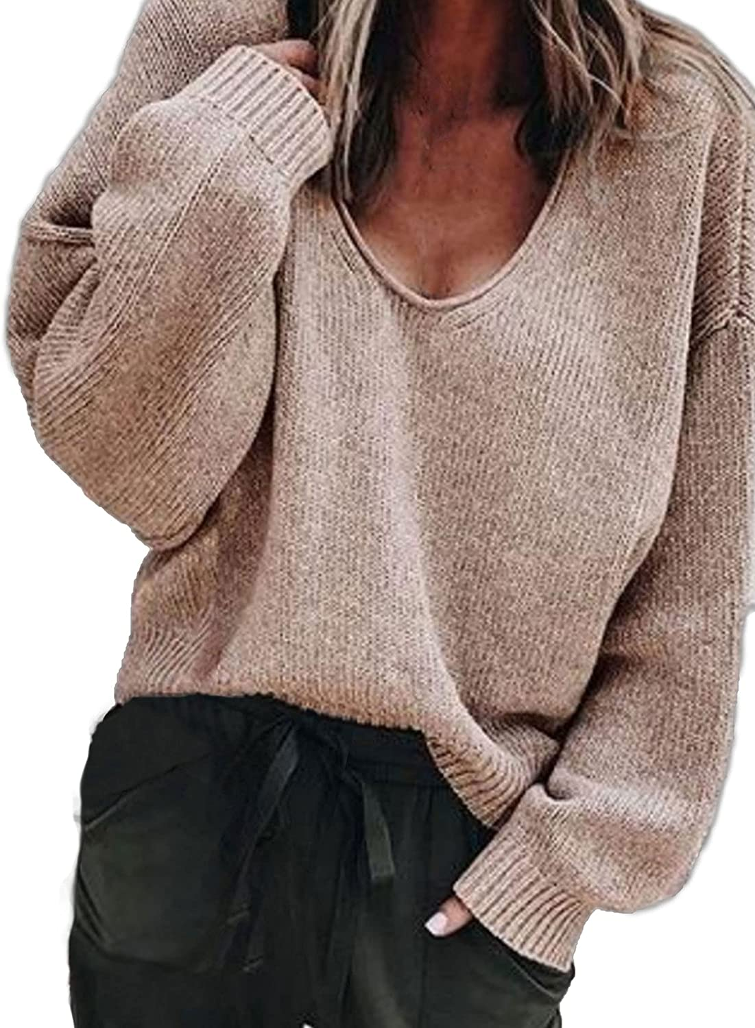 Aoulaydo Women's V Neck Pullover Sweater Comfy Long Sleeve Lightweight Casual Knit Tops