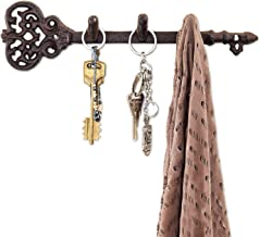 """Comfify Decorative Wall Mounted Key Holder - Vintage Key with 3 Hooks - Wall Mounted - Rustic Cast Iron - 11 x 2.8""""- with Screws and Anchors (Rust Brown)"""