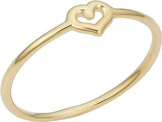 Kooljewelry 14k Yellow Gold 4.7 MM Small Heart Minimalist Ring for Women