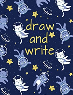 Draw And Write Primary Journal - Cats In Space: Grades K-2 Composition Notebook Lined Paper with Dashed Midline and Half Page Story Space for Drawing