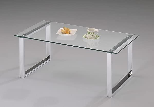 国王 S 品牌现代设计镀铬玻璃顶鸡尾酒咖啡桌