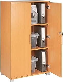 Armoire de rangement pour bureau, bibliothèque, armoire de classement en hêtre verrouillable avec 2 portes