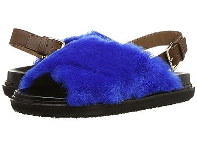 MARNI Fussbett Furry Sandal (Bluette) Women