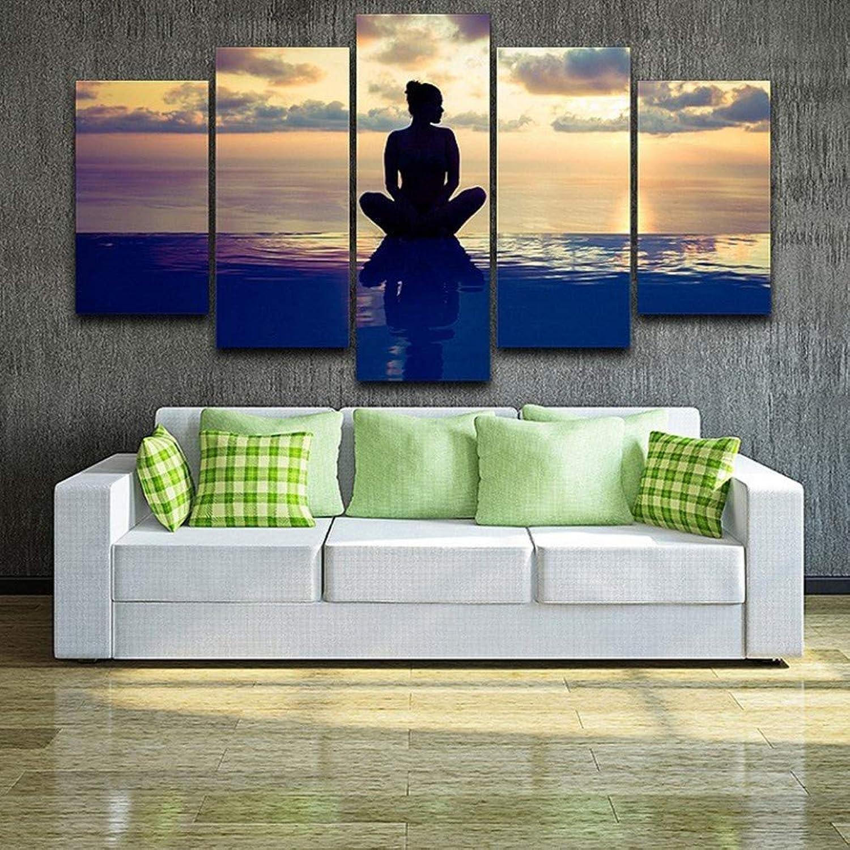envío rápido en todo el mundo Giow Pintura Decoración de la Sala de EEstrella 5 5 5 Paneles Paisaje de la Puesta del Sol Cochetel Lienzo Arte de la Parojo Marcos Modular Imágenes Impresas  distribución global