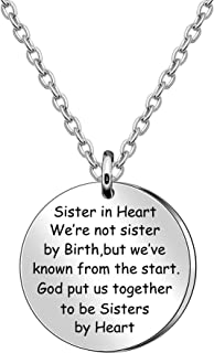 JQFEN Sister in Heart Necklaces,Sister Gifts, Sister Necklace, Sister Birthday Gifts, Friends Gifts,