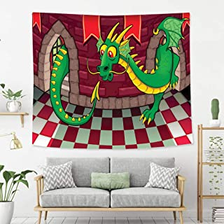 BEIVIVI Wall Tapestry Wall Hanging Cartoon Video Game Design Inside The Castle with Dragon Fantasy World Medieval Illustration Ruby Green Wall Tapestry with Art Nature Home Decorations