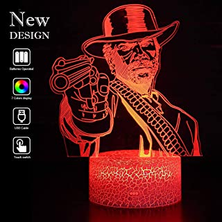Red Dead Redemption 2 Light 3D Vision Effect Night Light Baby Mood Lamp 3D Optical Illusion Night Ligth Game Lover RGB Changeable Lighting Decor Gameroom Gift Choice for Kids Friends (red dead huaman)