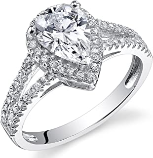 2.33 Carats Sterling Silver Halo Style Pear Cut Cubic Zirconia Engagement Ring, Available In Sizes 5 To 9