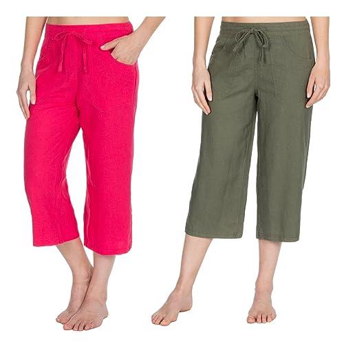 f83e63f089553a Metzuyan Womens 3/4 Capri Pants Cropped Elasticated Trousers Sizes 10-14
