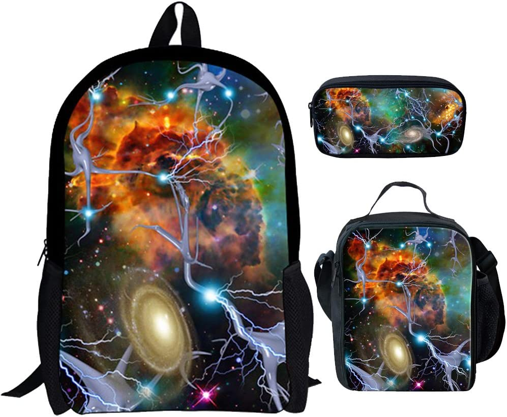 Tupalatus Outdoor Sports Portable Backpack Storage Bag for Women Shopping Picnic Daypack Rucksack School Bag Lunch Bag for Men Child Pencil Case with Galaxy Star Printed 3 Piece Set 17 Inch Orange