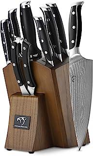 Damas Couteau de Cuisines, 9 Pièces Set Couteaux Professionnels Cuisine with Bloc en Bois,Damascus Lot de Couteaux en Bois...