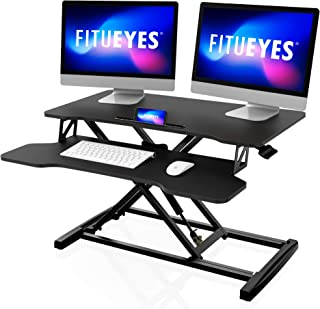 FITUEYES Height Adjustable Standing Desk 80 cm Wide Sit to Stand Desk Converter Tabletop Workstation for Dual Monitors Ris...