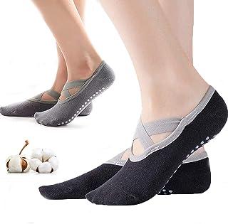Vandove, Calcetines Yoga, 2 Pares Pilates Calcetines Mujer Yoga Antideslizantes con Correas Cruzadas Calcetines Deportivos , para Yoga Pilates Barra Ballet Fitness Entrenamiento Descalzo