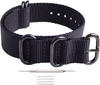 18mm 20mm 22mm 24mm NATO Strap with Black Heavy Buckle Watch Band