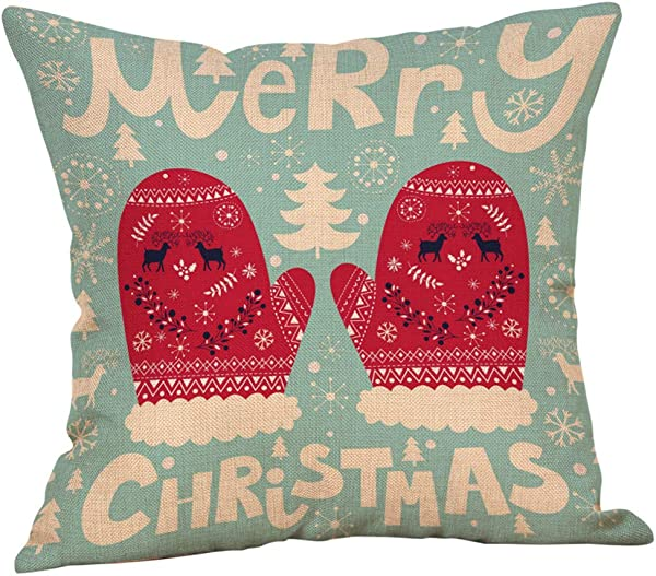 Xmas Pillow Cases Shimigy Merry Christmas Pillow Cases Cotton Linen Sofa Cushion Cover Home Decor