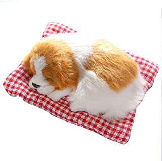 Toonol Vivid Simulation Plush Sleeping Dogs Doll Toy with Sound Kids Toy Birthday Gift Doll Decor Stuffed Puppies Toys Color Yellow & White