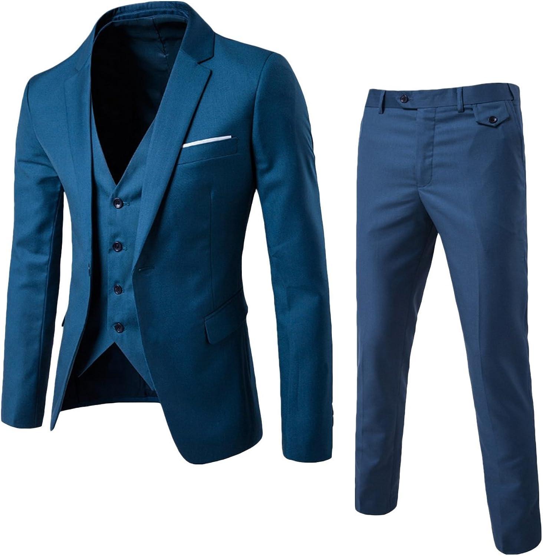 newrong Men's Slim Fit 3-Piece Suit Party Blazer Vest Pants Set