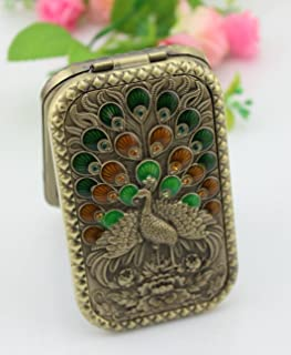 znewlook Make up Cosmetic Mirror Pocket Double Compact Antique Metal Enamel Handheld Mirror with Peacock Pattern