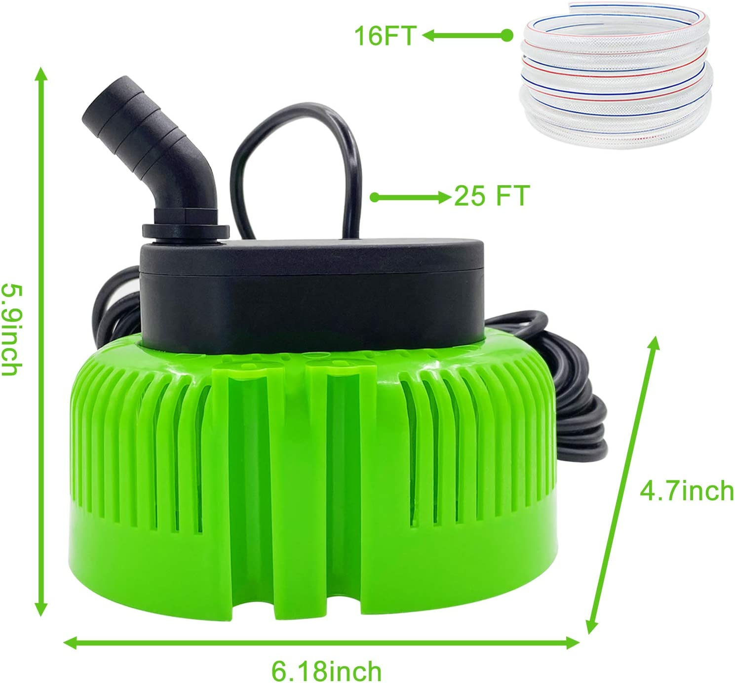 Swimming Removal with 16 Drainage Hose and 25 Feet Power Cord 850 GPH 3 Adapters Submersible Water Sump Inground Pump AgiiMan Pool Cover Pump Above Ground