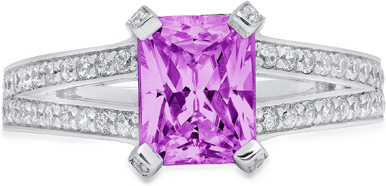 2.75 ct Emerald Cut Solitaire with Accent split shank Stunning Genuine Flawless Simulated Purple Alexandrite Modern Promise Statement Designer Ring 14k White Gold