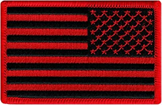 American Flag Embroidered Patch Red Black Reverse United States Subdued Military