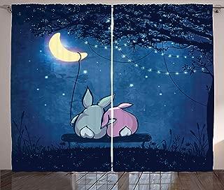 Ambesonne Half Moon Curtains, Rabbit Couple Under Starry Night Sky, Living Room Bedroom Window Drapes 2 Panel Set, 108