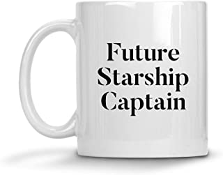 Future Starship Captain Mug Funny 11oz 15oz Ceramic Sci-Fi Coffee Tea Cup Black