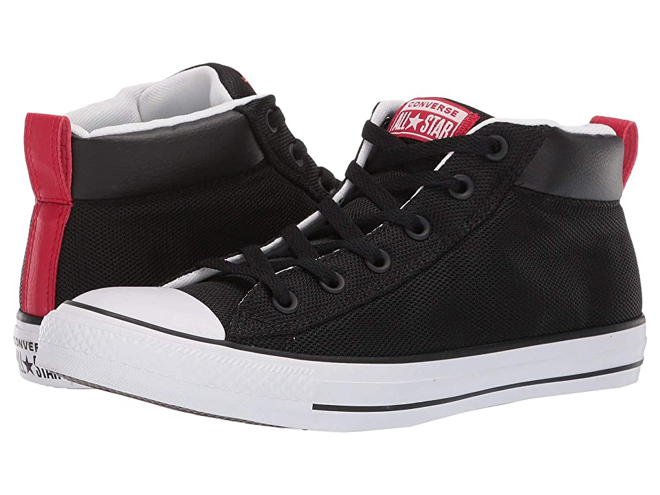 Converse Chuck Taylor(r) All Star Street Mid (Black/White/Enamel Red) Shoes