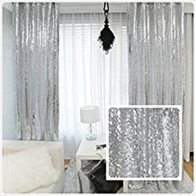 TRLYC Shiny Sequin Backdrop Curtains for Wedding Party Decor (2 Panels, W2 x H8FT,Sliver)