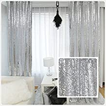 TRLYC Glitter Sequin Backdrop Curtains for Wedding Party Decor (2 Panels, W2 x H8FT,Sliver)