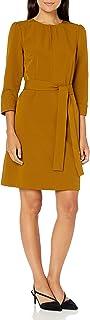 Lark & Ro Women's Florence Three Quarter Puff Sleeve Stitch Detail Belted Dress