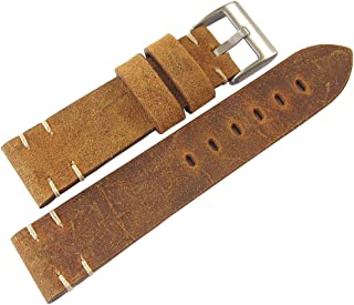 ColaReb 22mm Perugia Rust Brown Distressed Leather Mens Watch Strap Made in Italy