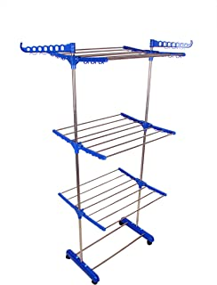 SUNDEX Cloth Dryer Stands Foldable for Balcony with Side Cloth Hanger - 3 leyars - (Made in India)