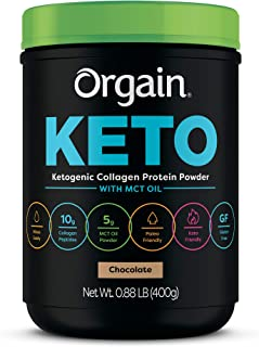 Orgain Keto Collagen Protein Powder with MCT Oil, Chocolate - Paleo Friendly, Grass Fed Hydrolyzed Collagen Peptides Type ...