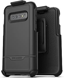 Encased Galaxy S10 Belt Clip Protective Holster Case (2019 Rebel Armor) Heavy Duty Rugged Full Body Cover w/Holder (Black)