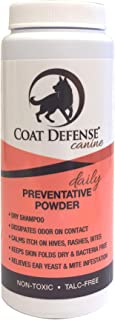 Coat Defense Daily Preventative Powder For Dogs   Treats and Prevents Hot Spots, Itchy Skin, Bacterial and Fungal Skin Conditions,   Excellent Waterless Dry Shampoo   6 Ounce Powder   Made In USA
