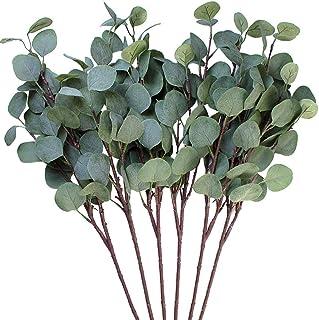 3 hojas de eucalipto Amkun de plata artificial en rama, de