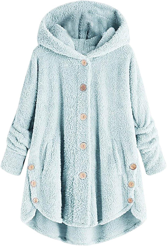 POLLYANNA KEONG Womens Winter Coats, Women Fuzzy Sherpa Hoodies Casual Button Loose Hooded Winter Fleece Fluffy Coats Jackets