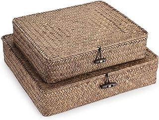 Sumnacon 2pcs Panier de Rangement Plat Panier avec Couvercle pour étagère boîte de Rangement Tissage en rotin (café)