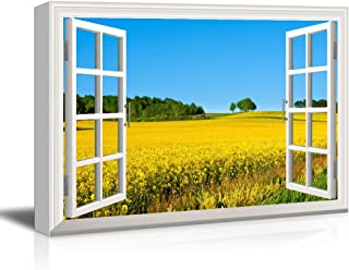 wall26 Window View Canvas Wall Art - Yellow Rape Flower Field in Spring - Giclee Print Gallery Wrap Modern Home Decor Ready to Hang - 32x48 inches
