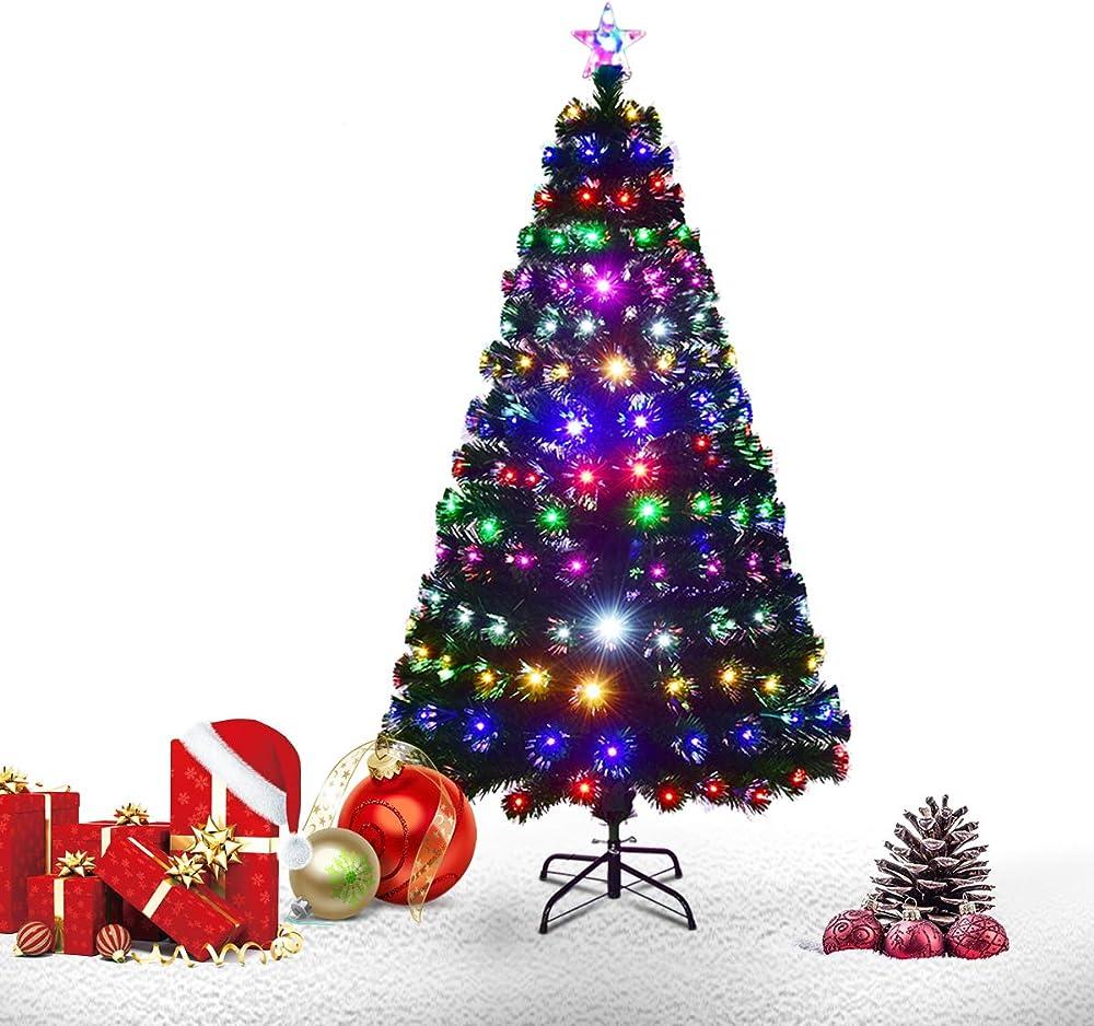 Goplus brillante albero di natale verde pvc con stella di natale e tutti rami luci colorate a fibre ottiche ANDYMC8502IT