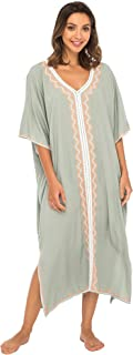Back From Bali Womens Beach Cover up Maxi Embroidered Dress, Long Beach Caftan Poncho for Swimsuit
