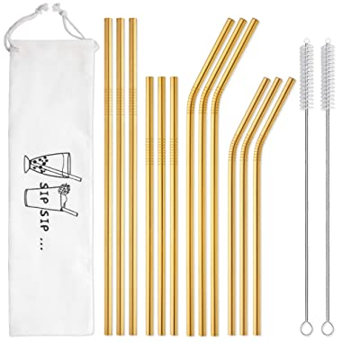 Hiware 12-Pack Gold Stainless Steel Straws Reusable with Case - Metal Drinking Straws for 30oz & 20oz Tumblers Yeti Dishwasher Safe, 2 Brushes Included