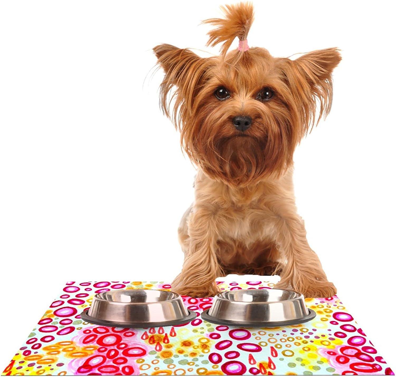 KESS InHouse Ebi Emporium Circular Persuasion Pink Yellow  Magenta Pet Bowl Placemat for Dog and Cat Feeding Mat, 24 by 15Inch