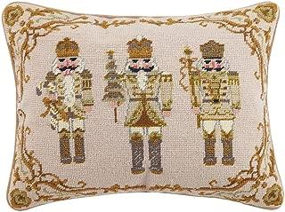 Peking Handicraft Golden Nutcrackers Needlepoint Pillow, 14X18